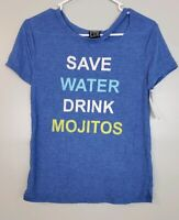 Modern Lux Women's Top Size XS Extra Small Blue Short Sleeve Mojitos Shirt