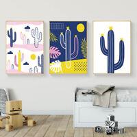 Cartoon Plants Cactus Nursery Canvas Art Poster Prints Kids Room Decoration