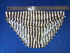 Aussiebum Mens Swim - 100% Nylon White/Black Stripe Swim Brief Size XL