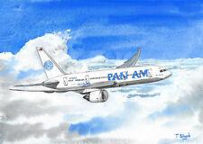 ORIGINAL GOUACHE - Pan Am, Boeing 787 Dreamliner.