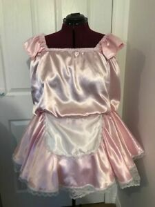 Baby Pink Satin Mini Maid Dress Sissy, TV, CD 20-24 Plus