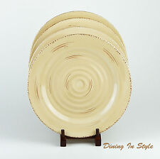 Set of 2 Dinner Plates NEAR MINT! Belagio Pottery, Tan, Embossed Rings, No Verge