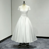 White Ivory Short Sleeve T-Length Lace Satin  A Line Wedding Dress Bridal Gown