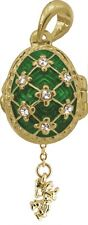Faberge Egg Pendant / Charm with Angel 2.1 cm green #2-1026