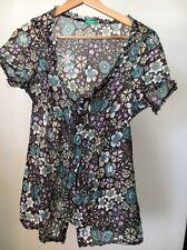 Benetton Size 6 Brown Blue Cotton Silk Floral Sheer Short Sleeve Shirt <T11360