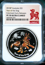 2018 Australia PROOF Colored Silver Lunar Year of the DOG NGC PF70 1oz Coin