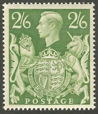 1942 2/6 yellow-green high value definitive stamp unmounted mint fine gum SG476b