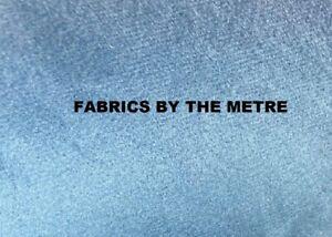 SKY BLUE Plush Plain FIRE RETARDANT Velvet Upholstery / Curtain Fabric