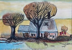 Vintage Mixed Media Watercolor Ink Outsider Art Wall Hanging House Trees Signed