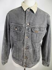 Men's Lee Black Denim Jean 100% Cotton Blanket Lined Trucker Jacket 12432