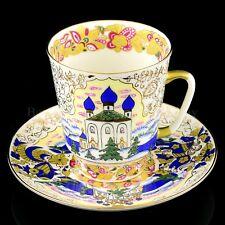 RUSSIA Imperial Lomonosov Porcelain Tea Cup Saucer Russian Domes, Church Gold
