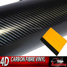 3m x 30cm 4D BLACK carbon fibre car sticker decal viny WRAP + free squeegee