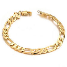 6mm Mens Chain Flat Gold Plated Stainless Steel Bracelet