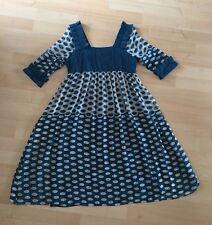 100% silk polka dot blue women's dress