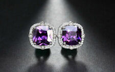 3.80Ct Cushion Cut Amethyst Diamond Halo Stud Earrings Solid 14K White Gold Over