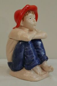 Hull Art Pottery Figural Cookie Jar Tom Sawyer Character Blue Jeans Barefoot Boy