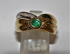ANELLO ORO 18KT SMERALDO DIAMANTI DAMIANI VINTAGE RING GOLD DIAMONDS EMERALD