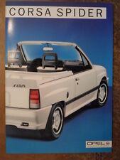 OPEL CORSA SPIDER orig 1985 German Mkt Sales Brochure Prospekt - Convertible