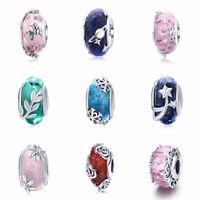 European Women Girl 925 Sterling Silver Colorful Charm Bead Jewelry Fit Bracelet