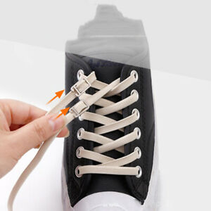 1pair Hot No Tie Lazy Shoelaces Rubber Shoes Lace Safe Elastic Flat Shoelaces
