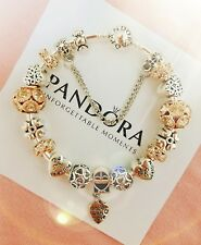 "Authentic Pandora Bracelet Silver Bangle with ""Love Story"" Charms"