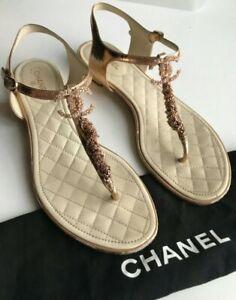 CHANEL Sandals 38C ( US8 ) Gold Logo CC Gold Color Authentic