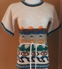 VINTAGE Acrylic SS Korean Folk Dancers Sunset Tree Multi Sweater S M