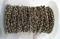 1 Feet Natural Pyrite Faceted Rosary Beaded Chain In 24k Gold Vermeil 3-4mm