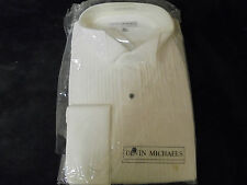 Vintage NEW WHITE w black dot buttons 15-1/2 32-33 DEVIN MICHAELS  OLD STOCK""