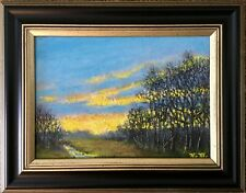 Sky Light Study # 2 - Framed 5X7 inch original oil skyscape painted on Mdf board