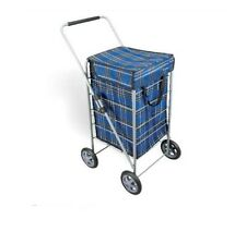 EXPLORER 4 WHEEL FOLDING WATERPROOF FABRIC  NAVY TARTAN SHOPPING TROLLEY