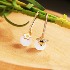 Yellow Gold Plated Opal Elegant Earrings Copper Stud Bee Flower Yellow Jewelry
