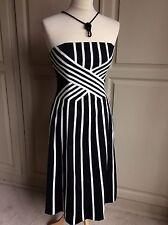 COAST Dress Size 8 Black & White Stripe Strapless Wedding Party Cruise Night Out