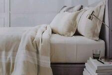 Fieldcrest Yarn Dyed Stripe Queen 3pc Comforter Set ~ New ~ Sour Cream Beige