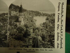 Stereoview Stereoscope Card Thun Lake Switzerland Castle Reprint 1978