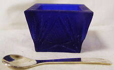 Cobalt Blue Satin Glass Square Open Salt Cellar