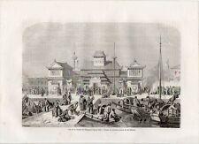 Stampa antica SHANGHAI Palazzo della Dogana Cina China 1861 Old print