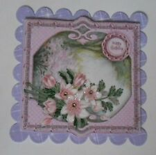 PK 2 HAPPY BIRTHDAY PINK MAGNOLIA EMBELLISHMENT TOPPERS FOR CARDS AND CRAFTS