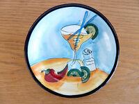 "Hausenware Snack Plate Margarita  Glass  Salt Shaker  Limes Chili   5 3/4"""