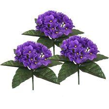 Set of 3 Artificial 23cm African Violet Plants - Purple Fake Flower Bushes