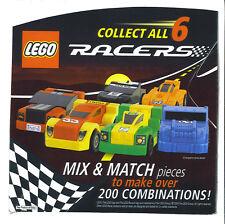 SET 6 LEGO RACERS cereal Bowyer CAR 33 GENERAL MILLS Hamburger Helper cheerio GM