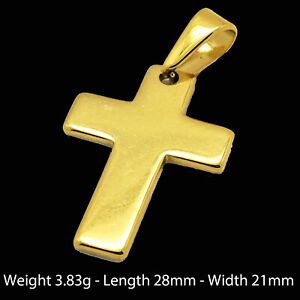 Gold Cross 18k Yellow Filled Solid Pendant Solid Unisex Classic Bling Design +++
