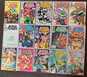 111 Alpha Flight #1-91,93-101,106,113-118,126,129,130,1 Byrne lee Marvel 1983 Nm