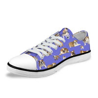 Bulldog Womens Lace Up Sneakers Students School Casual Flat Canvas Shoes Fashion