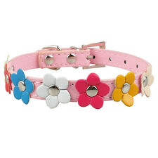 Flower Studded PU Leather Dog Collar Puppy Cute Collors XS-L Pink Black Red Blue