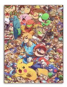 "Super Smash Bros Custom Art- Canvas Painting - 12"" X 16"" - High Quality Prints"