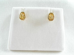 .90 Ct. Citrine Solitaire  14k Gold Earrings