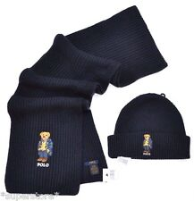NEW RALPH LAUREN POLO BEAR Winter BEANIE HAT + SCARF Men's Set Ski GIFT NAVY