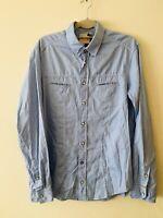 Hugo Boss Orange Label Blue Denim Look Slim Fit Long Sleeved Shirt L