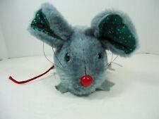 Acme 1988 Gray Plush Christmas Mouse Red Nose Felt Feet Green Inner Ear Vintage